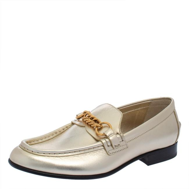 Item - Metallic Gold Leather Solway Chain Detail Slip On Size 39.5 Loafers