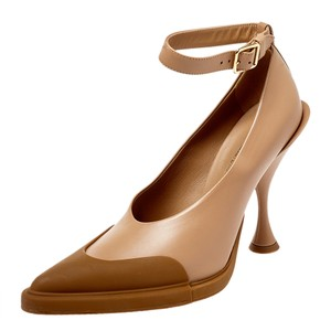 Burberry Brown Leather and Rubber Evan Ankle Strap Size 37.5 Pumps