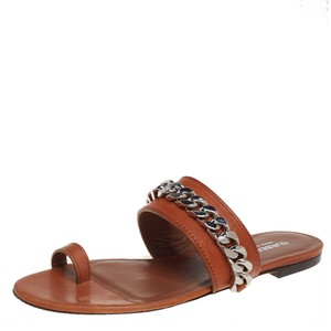 Burberry Brown Leather Heidi Toe Ring Size 37 Flats