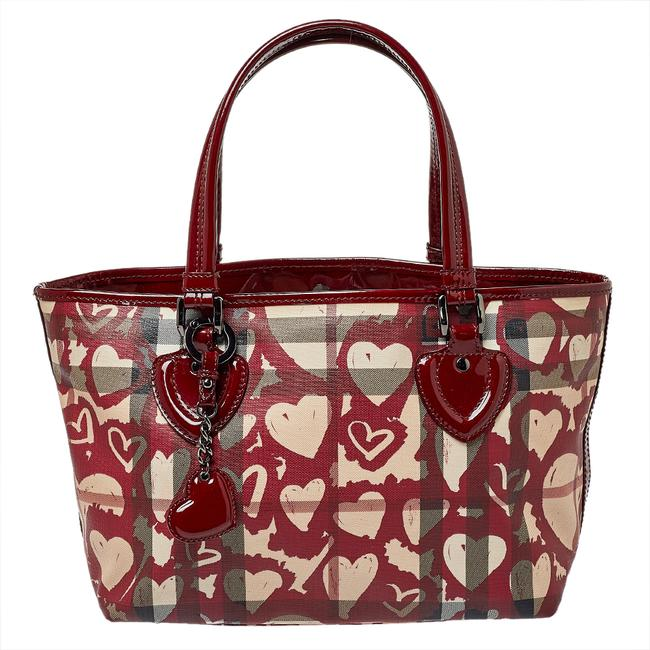 Item - Burgundy Supernova Heart Check Coated Canvas and Patent Leather Large Tote