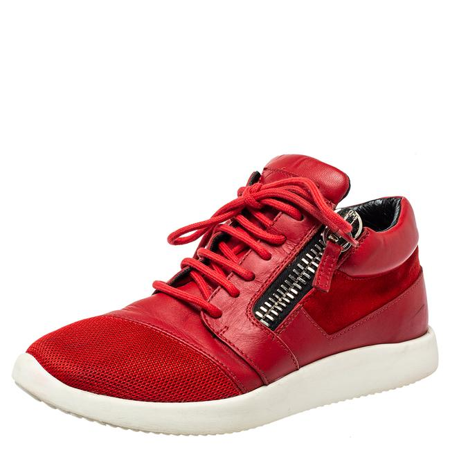 Item - Red Leather and Mesh Megatron Lace Up Sneakers Size 37 Athletic