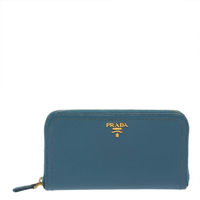 Item - Blue Leather Zip Around Wallet