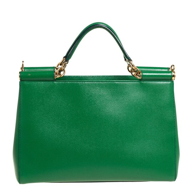 Item - Dolce & Gabbana Green Leather Miss Sicily Double Handle Tote