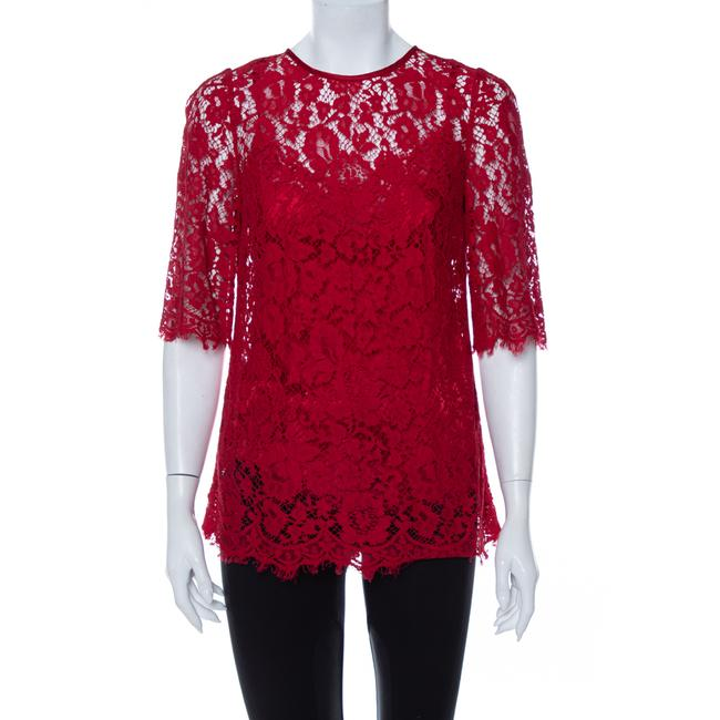 Item - Dolce & Gabbana Red Lace Quarter Sleeve Top M Blouse