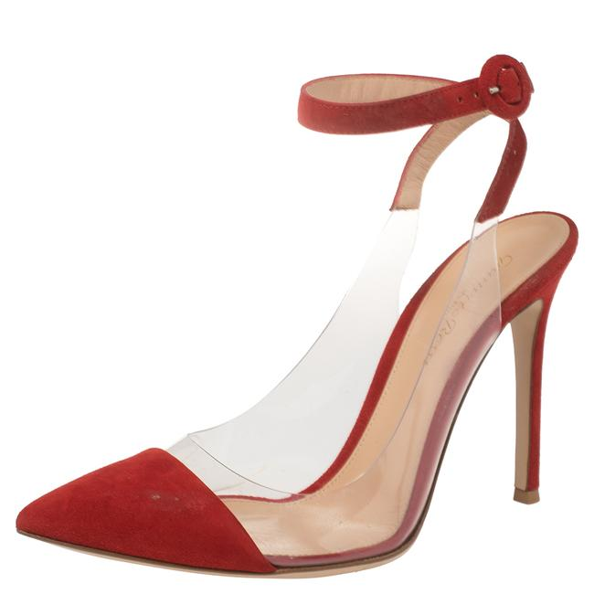 Item - Red Suede and Pvc Anise Ankle Strap Size 38.5 Sandals