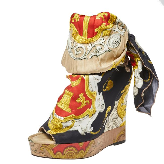 Item - Dolce & Gabbana Multicolor Scarf Open Toe Ankle Wrap Wedge Size 40 Pumps