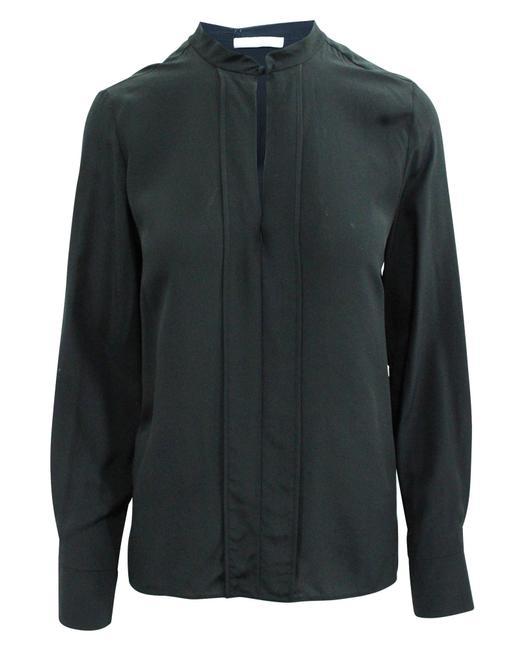 Item - Elegant Black Shirt with Front Pleat Button-down Top