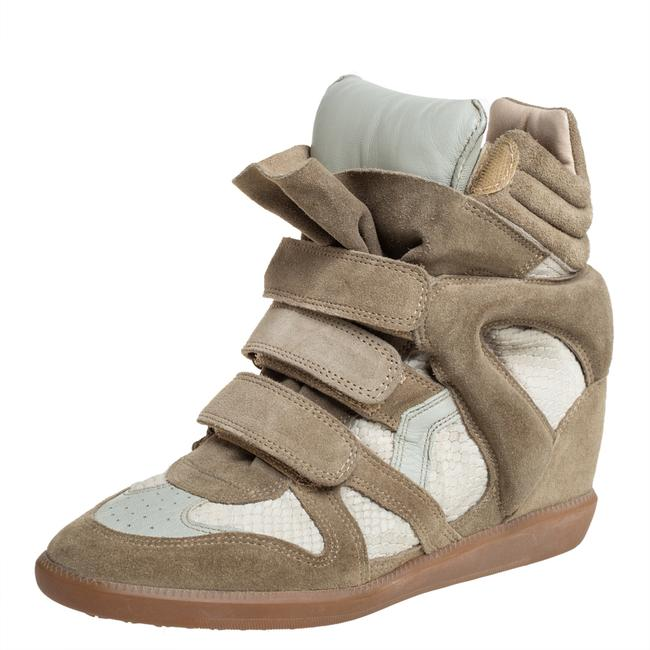 Item - Grey Suede and Leather High Top Wedge Sneakers Size 39 Athletic