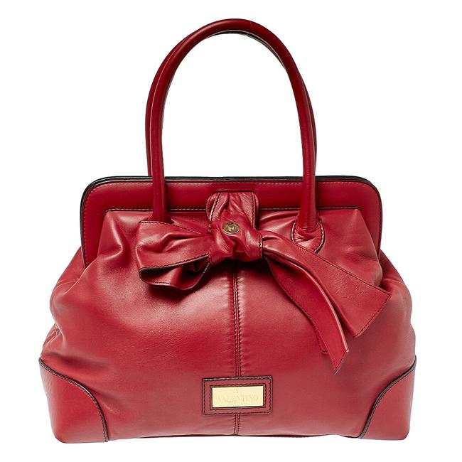 Item - Red Leather Bow Frame Satchel