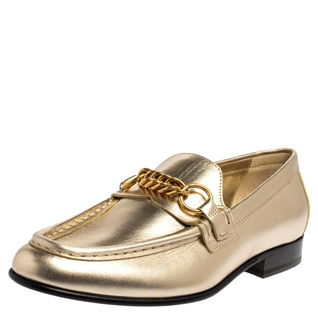 Item - Light Gold Leather Solway Chain Detail Slip On Size 38.5 Loafers