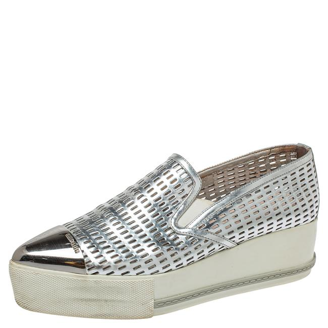 Item - Silver Perforated Leather Metal Cap Toe Platform Sneakers Size 39.5 Athletic