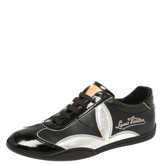 Item - Black/Silver Patent Leather and Leather Low Top Lace Up Sneakers Size 39 Athletic