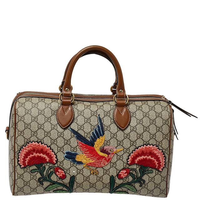 Item - Boston Bag Beige/Brown Gg Supreme Canvas and Leather Limited Edition Floral Wristlet