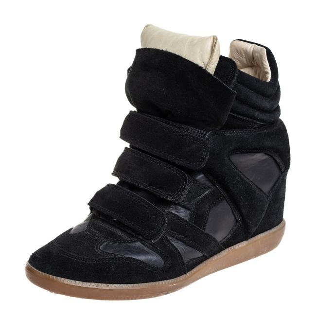 Item - Black Suede and Leather High Top Wedge Sneakers Size 39 Athletic