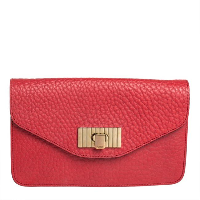 Item - Sally Red Pebbled Leather Clutch