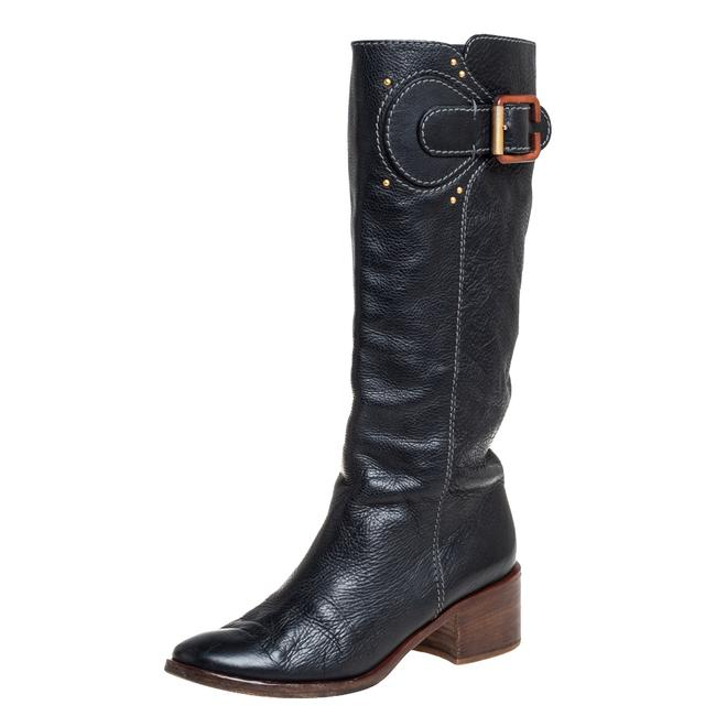 Item - Black Leather Mid Calf Size 40 Boots/Booties