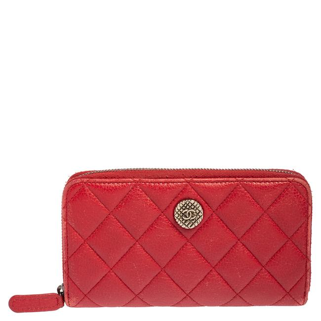 Item - Red Quilted Leather Cc Zip Around Wallet