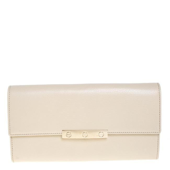 Item - Cream White Leather Love Continental Wallet