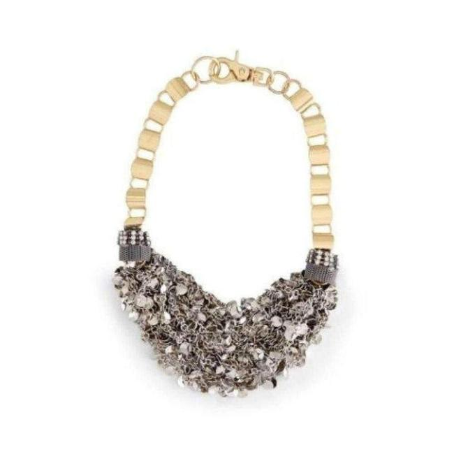 Item - Bcbgmaxazria Inspired Gold Silver Mesh Necklace Us Jewelry
