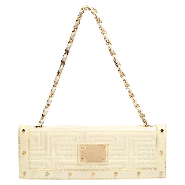 Item - Gianni White Quilted Patent Leather Flap Shoulder Bag