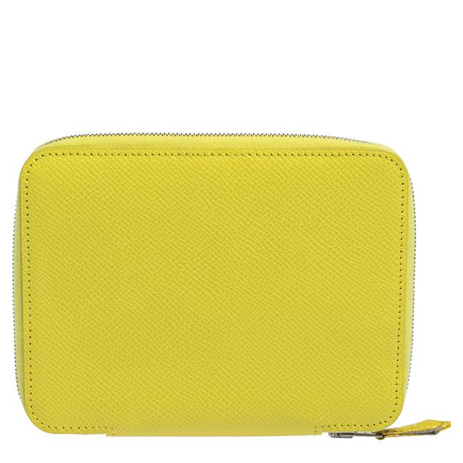 Item - Lime Epsom Leather Globe Trotter Zip Agenda Cover Tech Accessory