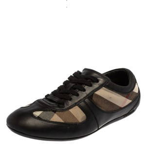 Burberry Black Leather and Check Canvas Low Top Sneakers Size 37 Athletic
