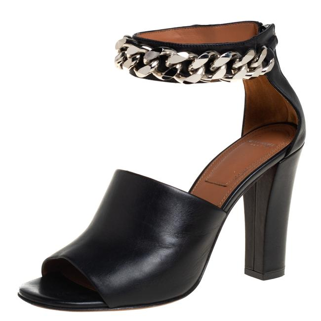 Item - Black Leather Chain Detail Ankle Cuff Size 40 Sandals