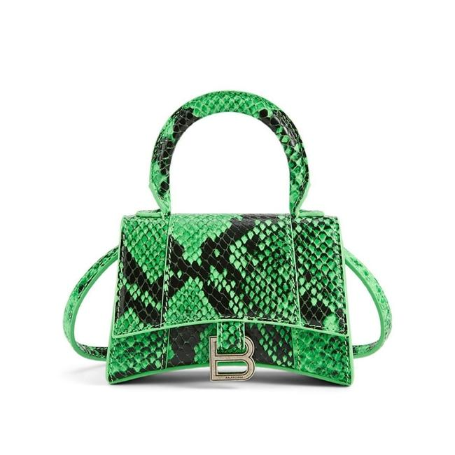 Item - Mini Hourglass Leather In Python Print Shoulder Bag
