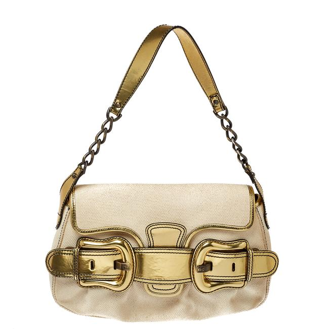 Item - Cream/Gold Canvas and Mirrored Leather B Bis Shoulder Bag