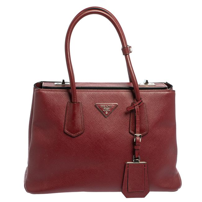 Item - Twin Red Saffiano Cuir Leather Tote