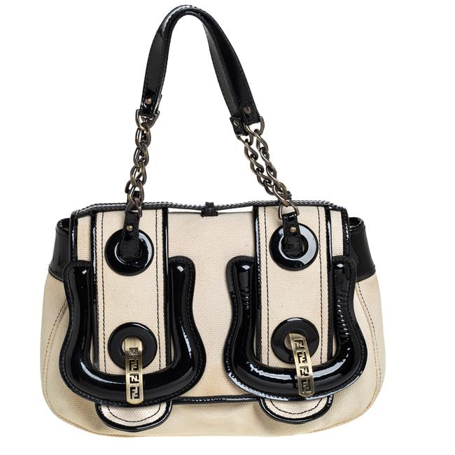 Item - Canvas and Patent Leather B Shoulder Bag