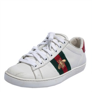 Gucci White Leather Embroidered Bee Ace Low Top Sneakers Size 34 Athletic