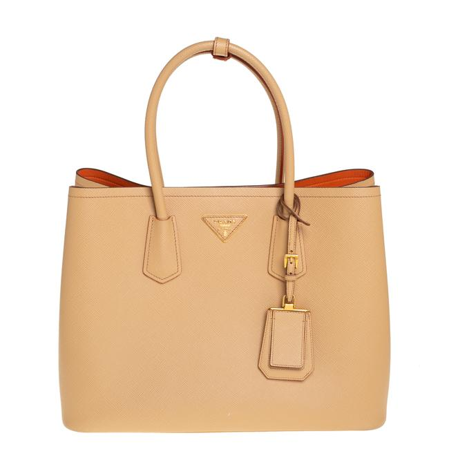 Item - Double Saffiano Cuir Leather Large Handle Tote