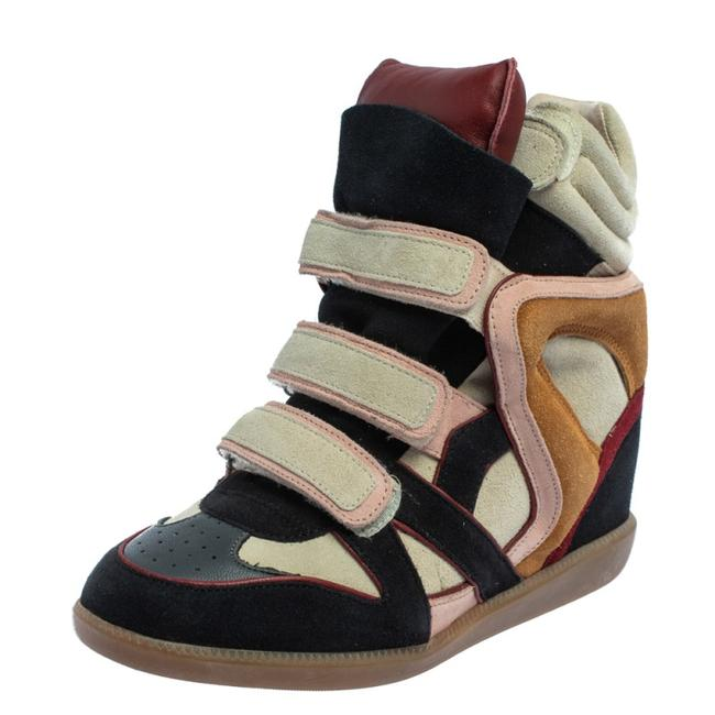 Item - Multicolor Suede and Leather Bekett Wedge Sneakers Size 40 Athletic