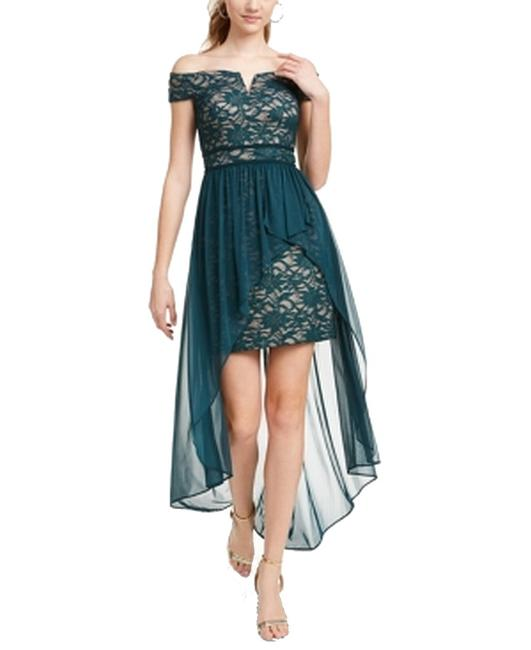 Item - Green Size 1 Junior Off Shoulder Lace Chiffon Gown Formal Dress