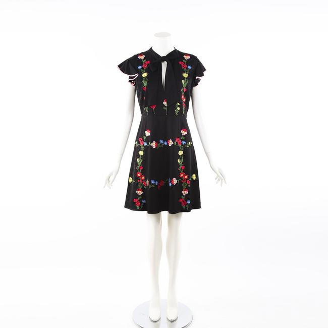 Item - Black Floral Embroidered Crystal Ruffle Dress 44