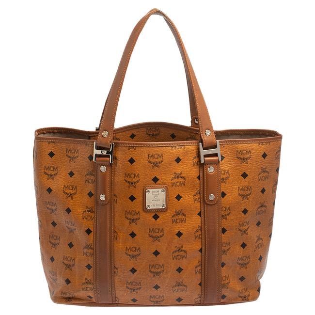Item - Cognac Visetos Coated Canvas and Leather Shopper Tote