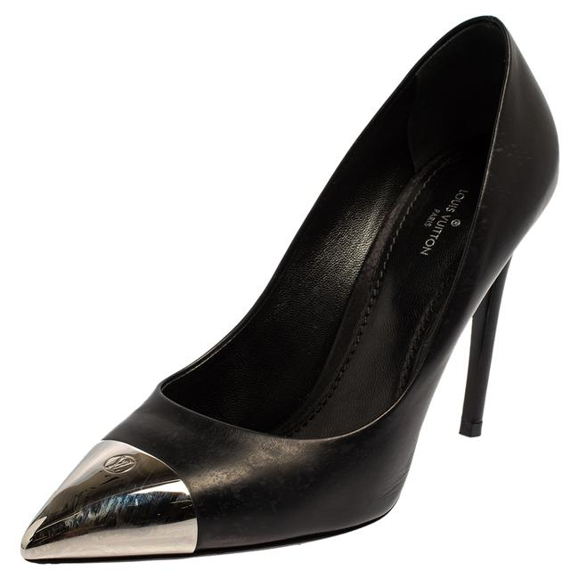 Item - Black Leather Merry Go Round Metal Cap Pointed Size 38 Pumps