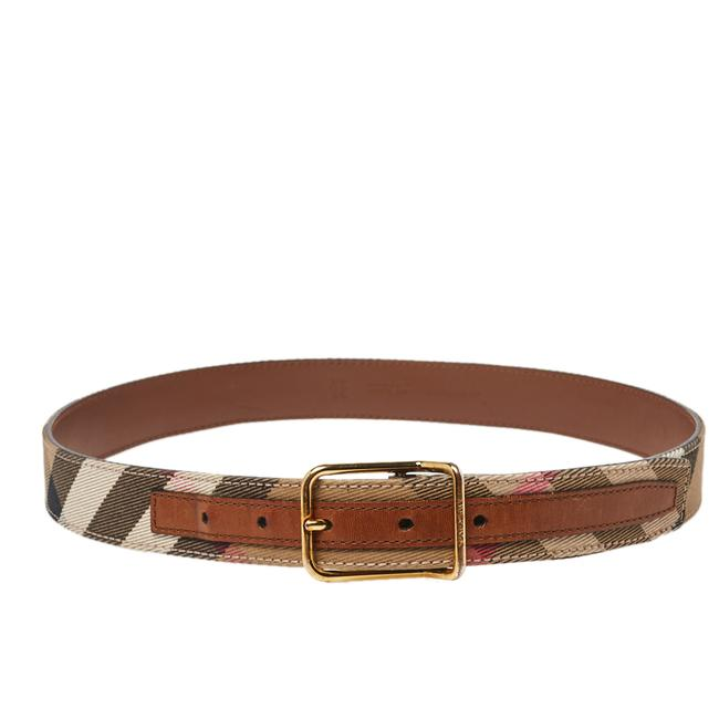 Item - Brown/Beige Nova Check Canvas and Leather Buckle 80cm Belt