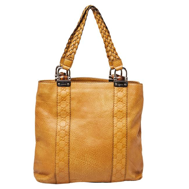 Gucci Yellow Guccissima Leather Large Bamboo Bar Tote Gucci Yellow Guccissima Leather Large Bamboo Bar Tote Image 1