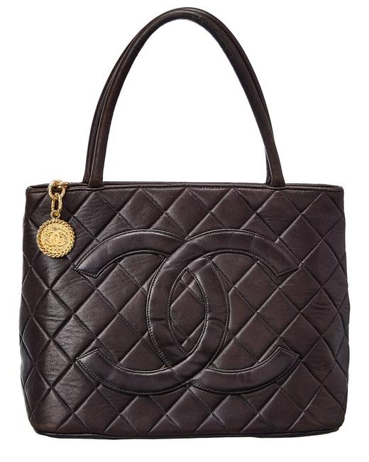 Item - Pre-owned Lambskin Leather Medallion 7236-1 Tote