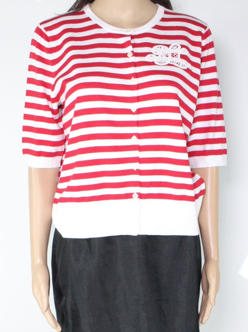 Item - L By New Red Women's Large Striped Cardigan Sweater/Pullover
