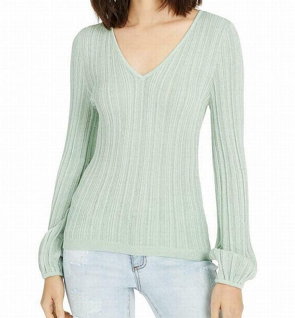 Item - Women's Top Dewy Green Size Small S V Neck Knit Ribbed Metallic Blouse