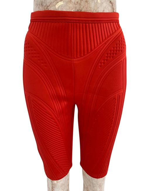Item - Red Ribbed Compression Cycling Shorts