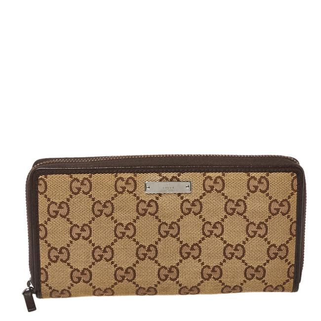 Item - Beige/Ebony Gg Canvas and Leather Zip Around Wallet