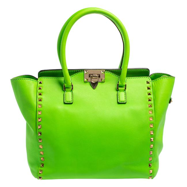 Item - Neon Green Leather Rockstud Trapeze Tote