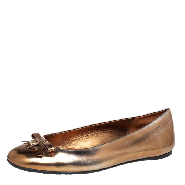 Item - Gold Leather Slip On Bow Ballet Size 39 Flats