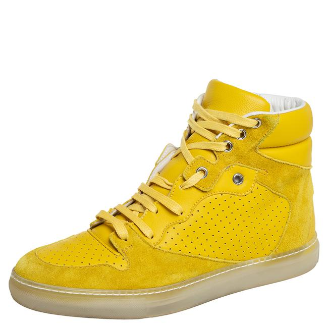 Item - Yellow Suede and Perforated Leather High Top Sneakers Size 38 Athletic