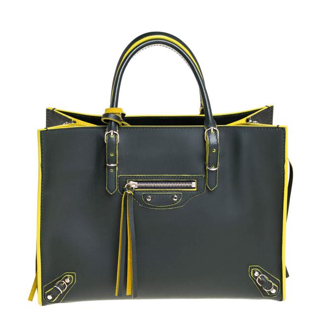 Item - Green/Yellow Leather Papier A6 Tote