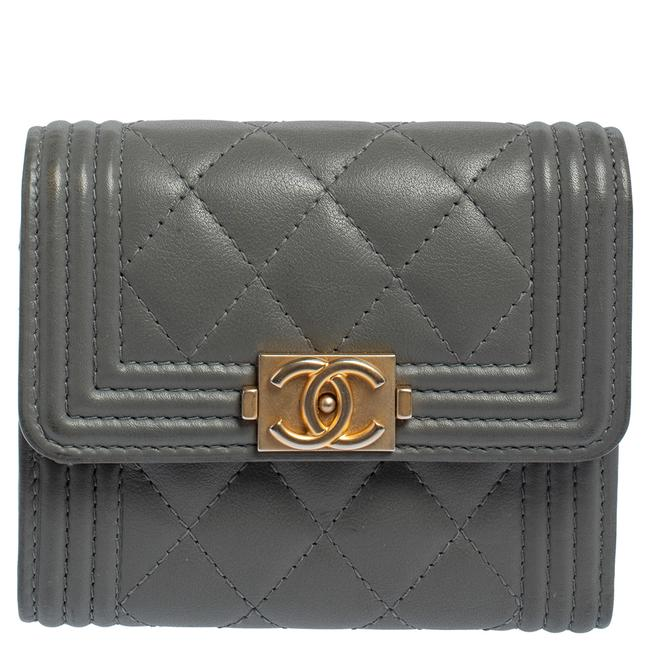 Item - Boy Grey Quilted Leather Card Holder Wallet